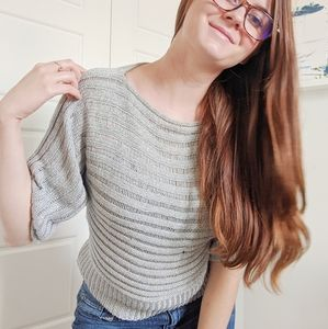 $$$ F.A.N.G Knitted silver ribbed sparkly blouse